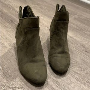 Beautiful Army Green Suede Booties